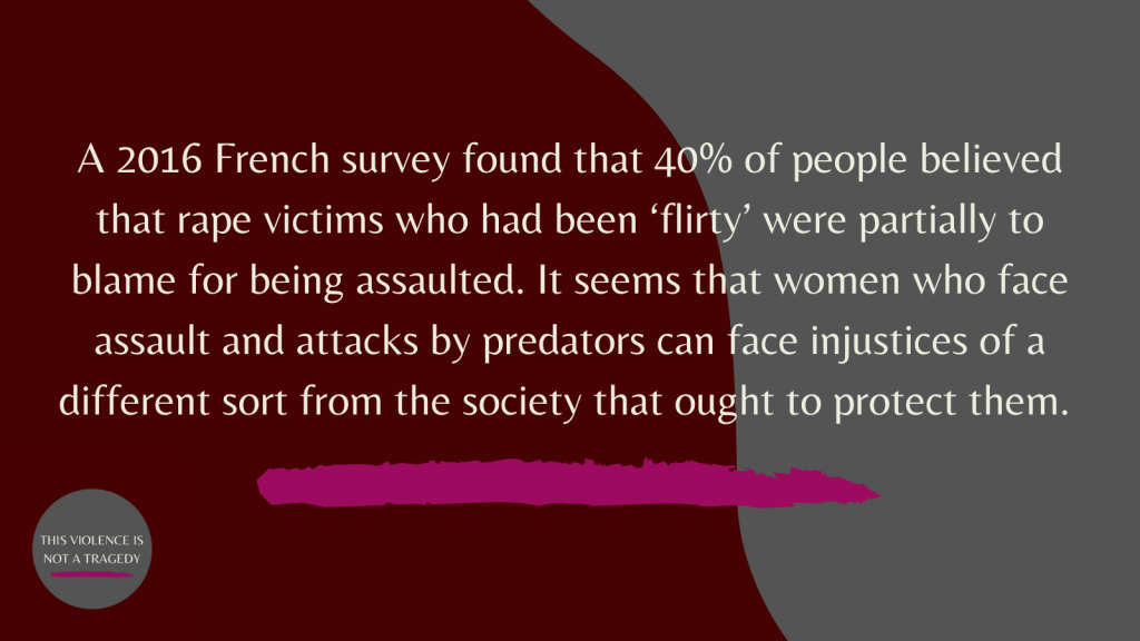 French 40% of people believed that rape victims who had been 'flirty' were partially to blame for being assaulted